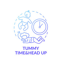 Tummy time and head up blue gradient concept icon vector