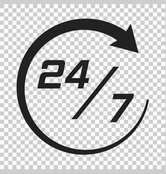 twenty four hour clock icon in flat style 247 vector image