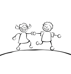 Two black and white kids holding hands vector