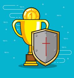video game trophy design vector image