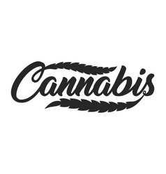 Vintage cannabis lettering template vector