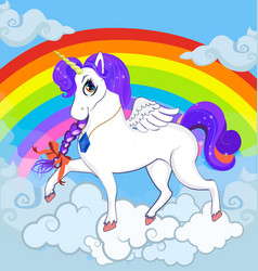 white pony unicorn character standing on clouds vector image