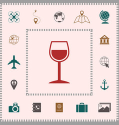 wineglass symbol icon elements for your design vector image