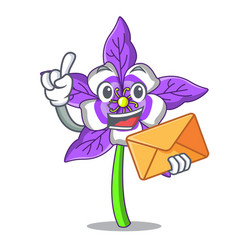 With envelope columbine flower character cartoon vector
