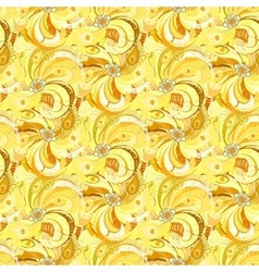 Yellow peacock feathers seamless pattern vector image