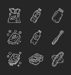 zero waste swaps handmade chalk icons set vector image