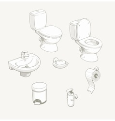 Bathroom and toilet equipment vector image