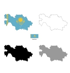 Kazakhstan country black silhouette and with flag vector image vector image