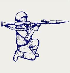 Mercenary shoot with a bazooka vector image vector image