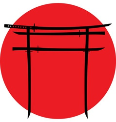 silhouette of torii gate with japanese swords vector image vector image