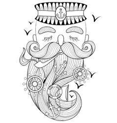 zentangle old sailor smoking a pipe vector image vector image