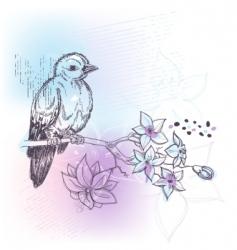 bird and jasmine branch vector image