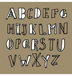 hand drawn doodles alphabet vector image