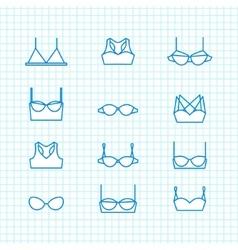 ladies bra icons set vector image