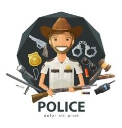 Ranger sheriff logo design template vector image