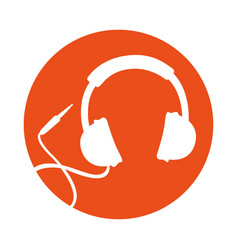 round icon headphones cartoon vector image vector image