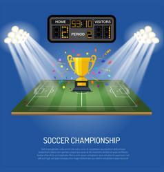 soccer stadium with scoreboard vector image vector image