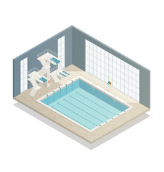 swimming pool indoor isometric composition vector image vector image