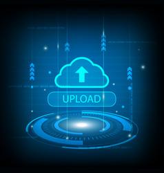 abstract upload cloud circle digital technology vector image vector image