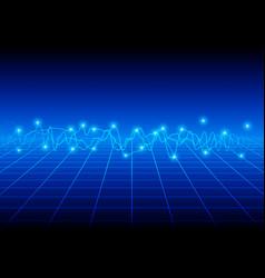 blue wave background design vector image