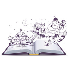 Open book story tale Magic lamp Aladdin Arab vector image