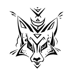 Tribal pattern fox polynesian tattoo style vector