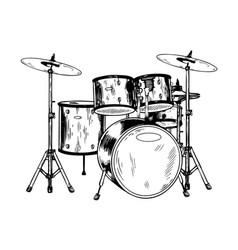 drum set engraving vector image