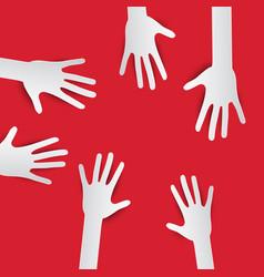 Paper Cut Hands Hands on Red Background Hands Set vector image vector image
