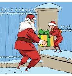 Santa Claus gives the boy a box of gifts vector image