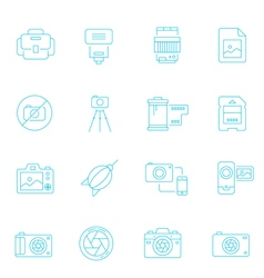 Thin lines icon set - camera and accessory vector image