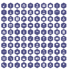 100 birthday icons hexagon purple vector