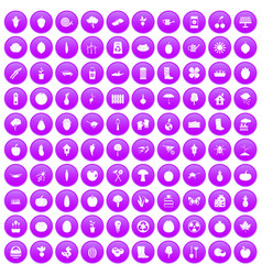 100 garden icons set purple vector