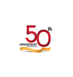 50 anniversary design logotype red color vector