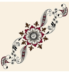 abstract floral elements in Indian mehndi style vector image