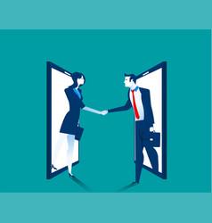 agreement business people handshake on smartphone vector image
