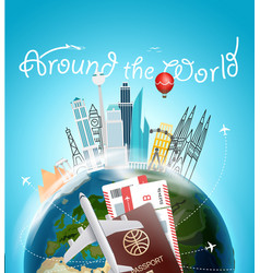 Around the wotld concept travel destination vector