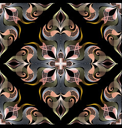 beautiful 3d damask seamless pattern patterned vector image