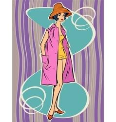 Beautiful retro girl in the sun hat vector image
