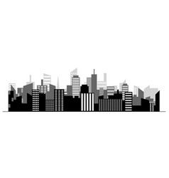 black random city skyline on white background vector image