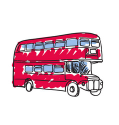 British red bus hand drawn icon vector