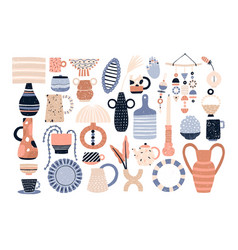 bundle of modern ceramic household utensils and vector image