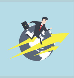 businessman running on an arrow in front of earth vector image