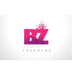 Bz b z letter logo with pink purple color vector