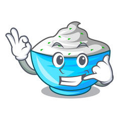 Call me bowl of sour cream on cartoon wooden table vector