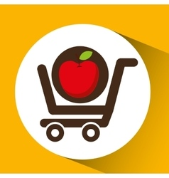 Cart buy delicious food apple vector