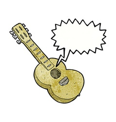 Cartoon guitar with thought bubble vector