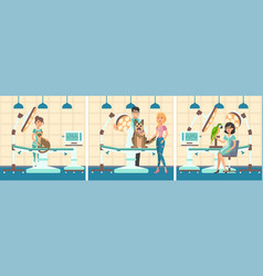 Cartoon set people with pets in examination room vector