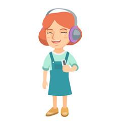 caucasian girl listening to music in headphones vector image