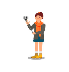 cheerful young girl tourist making selfie and vector image