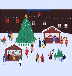 christmas fair flat winter vector image